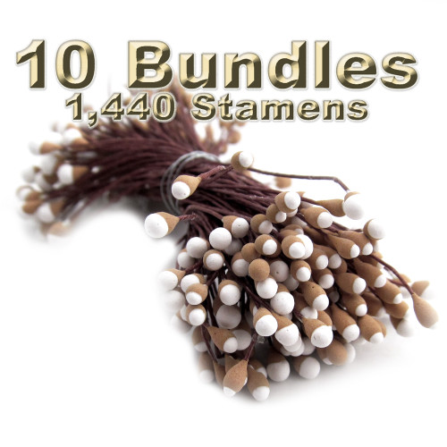 Pearl Stamen, Two Tone, Vintage, 3mm, 1,440-pc, Brwon stamen, Brown head with white tip