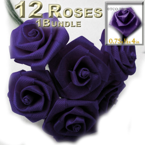 Artificial Flowers, Ribbon Roses, 0.75-inch, Purple