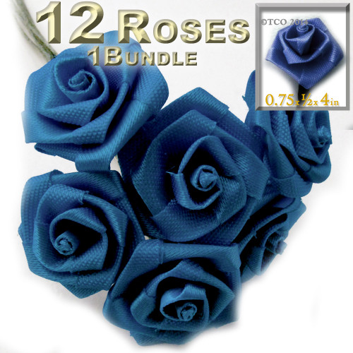 Artificial Flowers, Ribbon Roses, 0.75-inch, Royal Blue