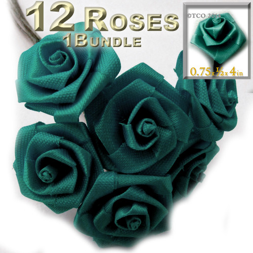 Artificial Flowers, Ribbon Roses, 0.75-inch, Teal Green
