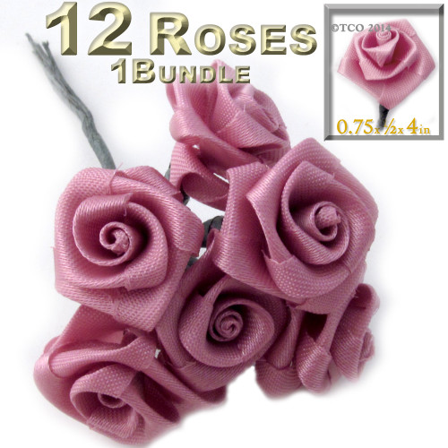 Artificial Flowers, Ribbon Roses, 0.75-inch, Rustic Pink