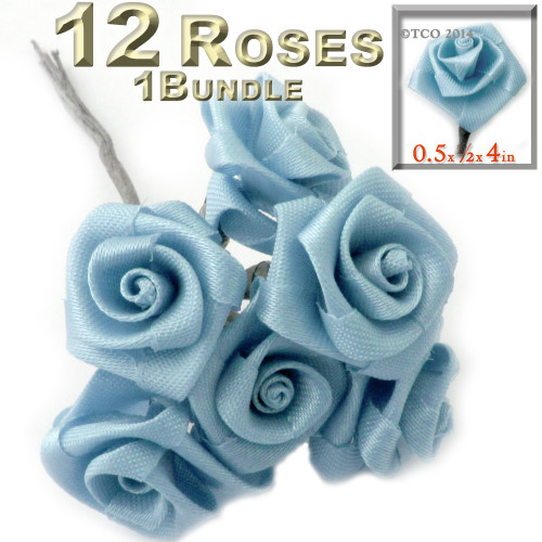 Artificial Flowers, Ribbon Roses, 0.50-inch, Light Blue