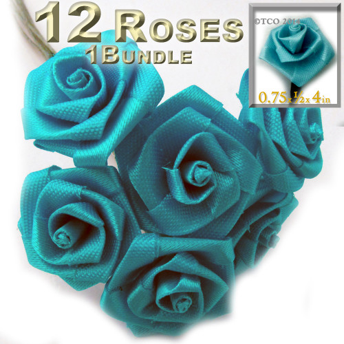 Artificial Flowers, Ribbon Roses, 0.75-inch, Turquoise Blue