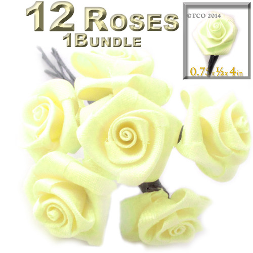Artificial Flowers, Ribbon Roses, 0.75-inch, Light Lemon Yellow