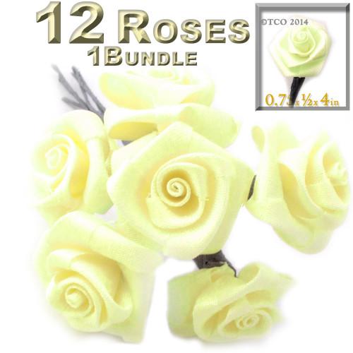 Artificial Flowers, Ribbon Roses, 0.75-inch, Light Lemon Yellow