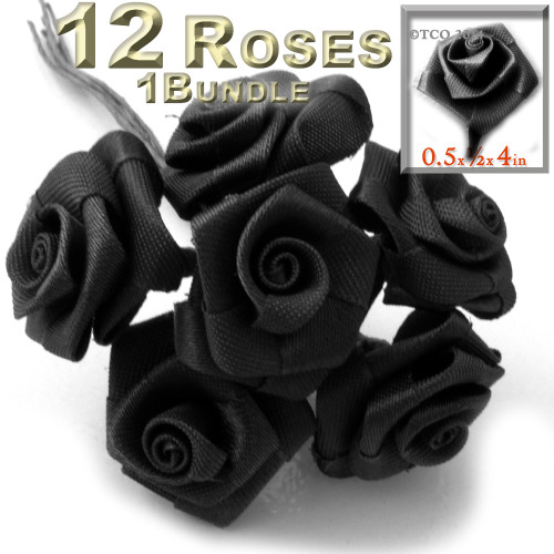 Artificial Flowers, Ribbon Roses, 0.50-inch, Black