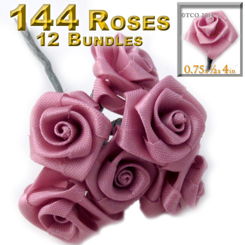 Artificial Flowers, Ribbon Roses, 0.75-inch, 6 Bundles, Rustic Pink