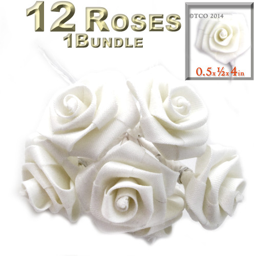 Artificial Flowers, Ribbon Roses, 0.50-inch, White