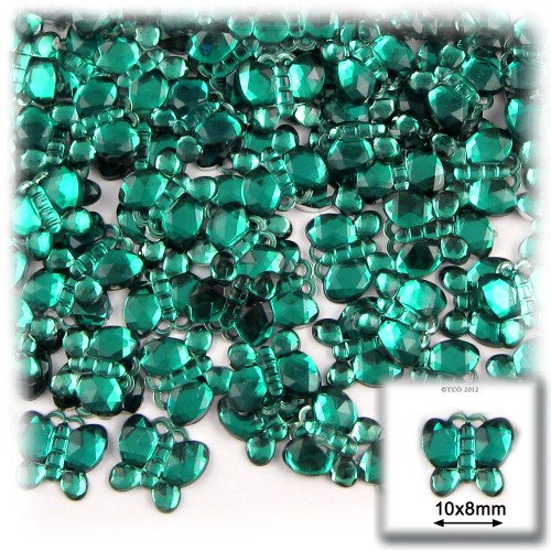 Rhinestones, Flatback, Butterfly, 10mm, 144-pc, Emerald Green
