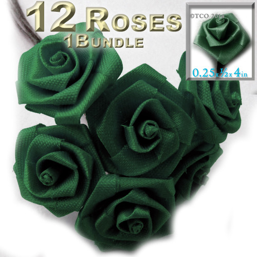 Artificial Flowers, Ribbon Roses, 0.25-inch, Emerald Green