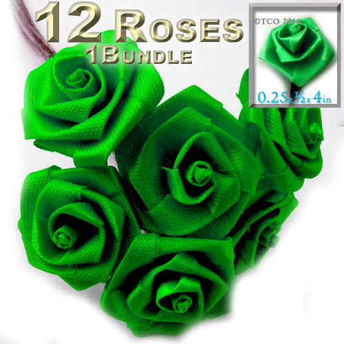 Artificial Flowers, Ribbon Roses, 0.25-inch, Bright Green