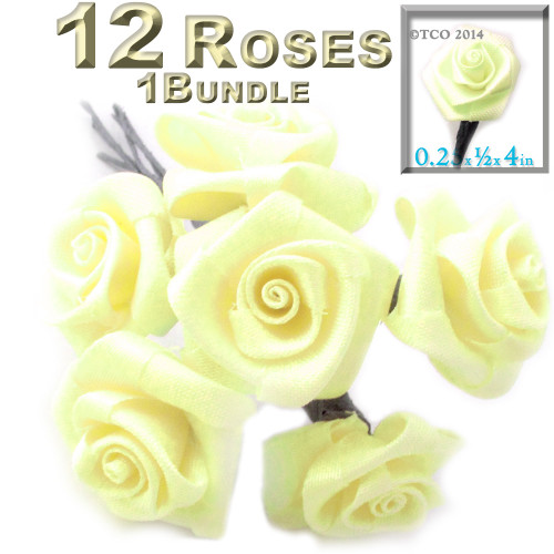 Artificial Flowers, Ribbon Roses, 0.25-inch, Light Lemon Yellow