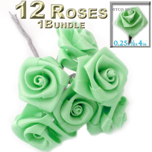 Artificial Flowers, Ribbon Roses, 0.25-inch, Pistachio Green