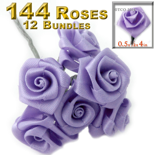 Artificial Flowers, Ribbon Roses, 0.50-inch, 12 Bundles, Lavender Purple