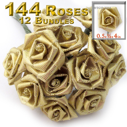 Artificial Flowers, Ribbon Roses, 0.50-inch, 12 Bundles, Gold
