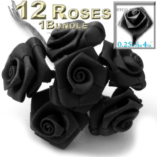 Artificial Flowers, Ribbon Roses, 0.25-inch, Black