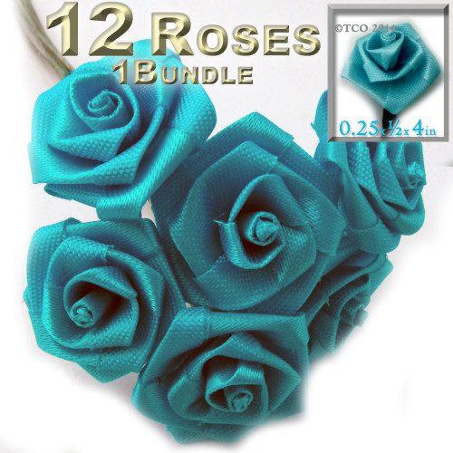 Artificial Flowers, Ribbon Roses, 0.25-inch, Turquoise Blue