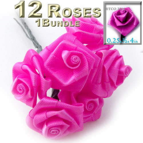 Artificial Flowers, Ribbon Roses, 0.25-inch, Fuchsia