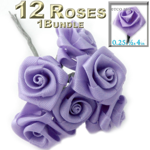 Artificial Flowers, Ribbon Roses, 0.25-inch, Lavender Purple