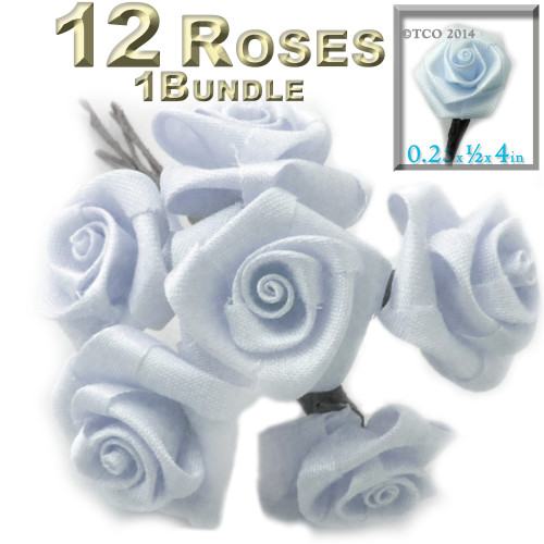 Artificial Flowers, Ribbon Roses, 0.25-inch, Sky Blue