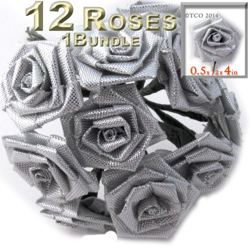 Artificial Flowers, Ribbon Roses, 0.50-inch, Silver Metallic