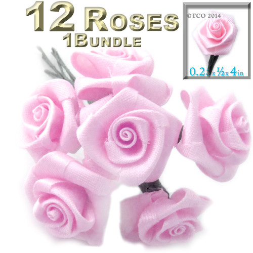 Artificial Flowers, Ribbon Roses, 0.25-inch, Pink