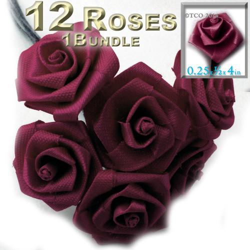 Artificial Flowers, Ribbon Roses, 0.25-inch, Burgundy