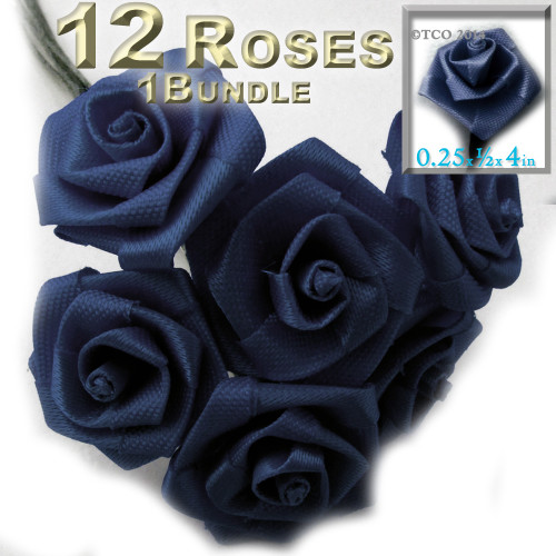 Artificial Flowers, Ribbon Roses, 0.25-inch, Navy