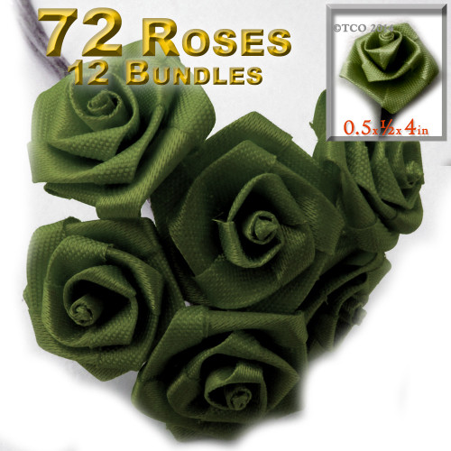 Artificial Flowers, Ribbon Roses, 0.50-inch, Olive Green, 12 bundles