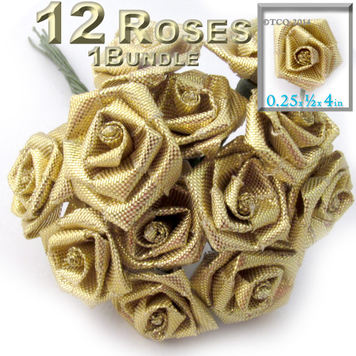 Artificial Flowers, Ribbon Roses, 0.25-inch, Gold