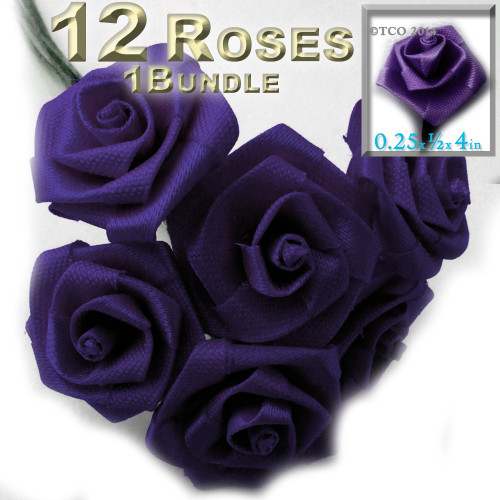 Artificial Flowers, Ribbon Roses, 0.25-inch, Purple