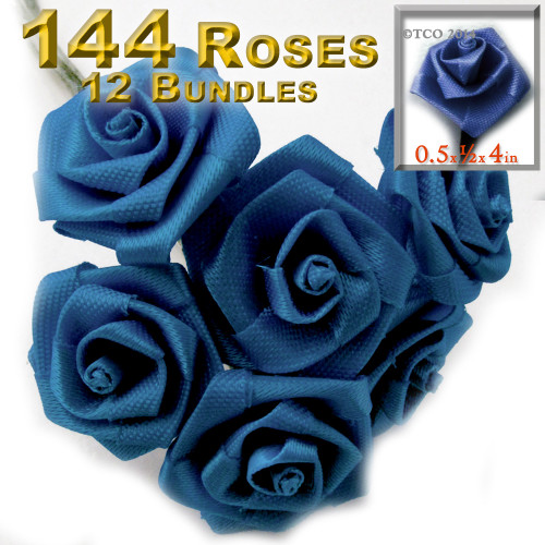 Artificial Flowers, Ribbon Roses, 0.50-inch, Royal Blue, 12 bundles