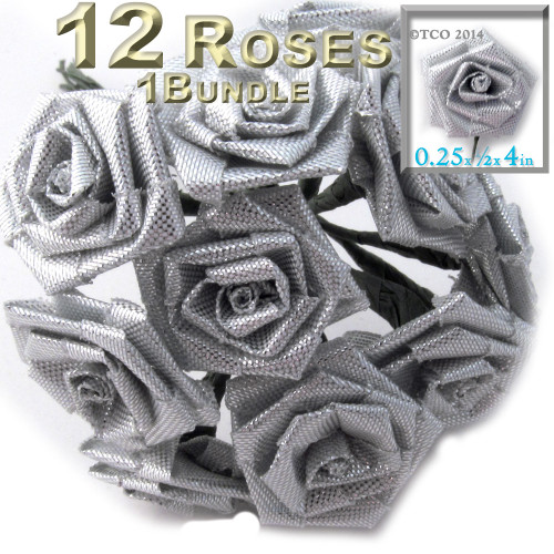 Artificial Flowers, Ribbon Roses, 0.25-inch, Silver Metallic