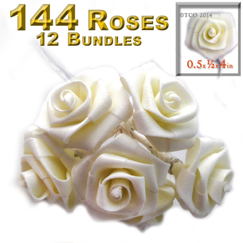 Artificial Flowers, Ribbon Roses, 0.50-inch, Cream white