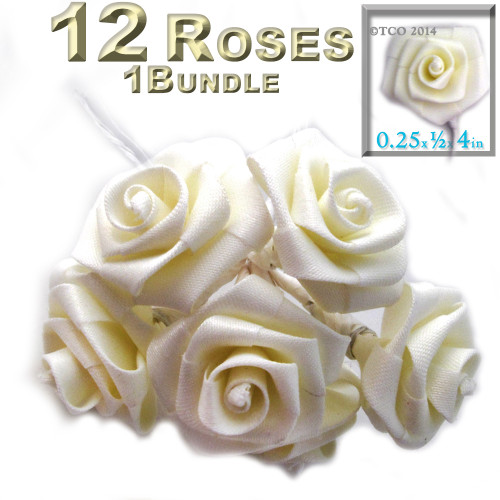 Artificial Flowers, Ribbon Roses, 0.25-inch, 12 Bundles, Cream