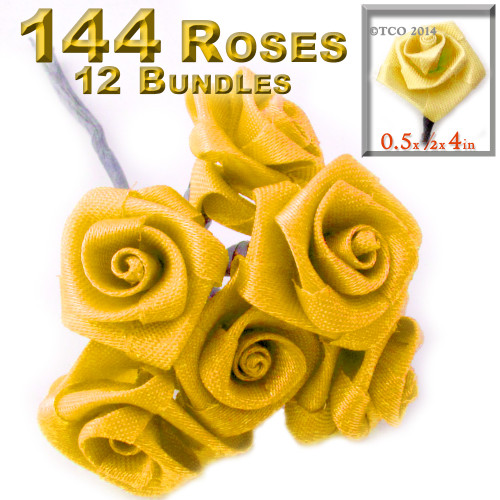 Artificial Flowers, Ribbon Roses, 0.50-inch, Sun Yellow, 12- Bundles