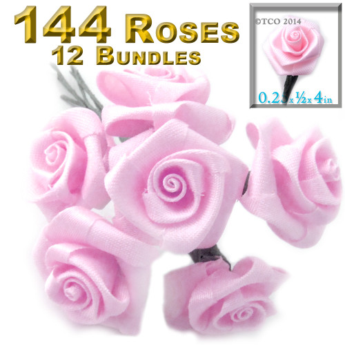 Artificial Flowers, Ribbon Roses, 0.25-inch, 12 Bundles, Pink