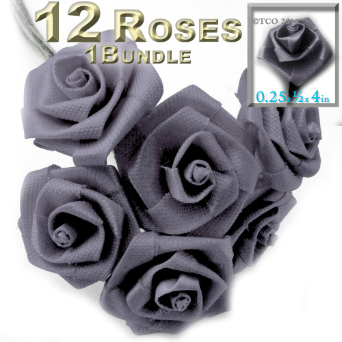 Artificial Flowers, Ribbon Roses, 0.25-inch, Gray