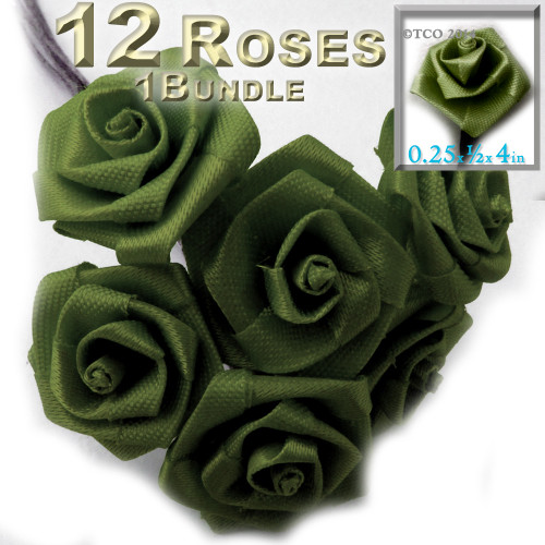 Artificial Flowers, Ribbon Roses, 0.25-inch, Olive Green