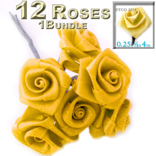 Artificial Flowers, Ribbon Roses, 0.25-inch, Sun Yellow