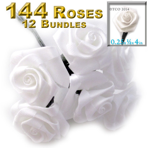 Artificial Flowers, Ribbon Roses, 0.25-inch, 12 Bundles, Green stem, White