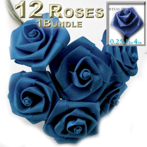 Artificial Flowers, Ribbon Roses, 0.25-inch, Royal Blue