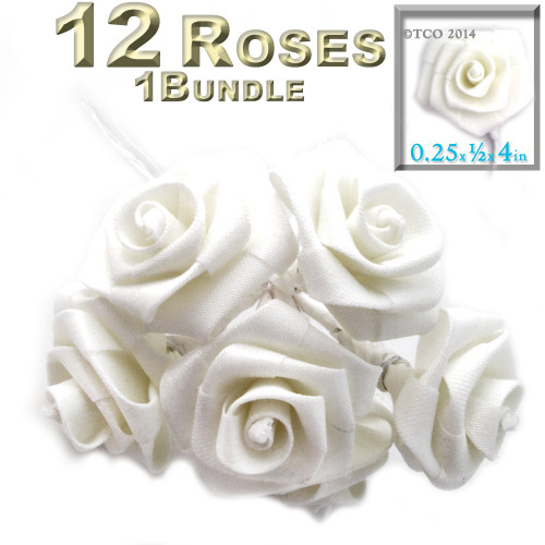 Artificial Flowers, Ribbon Roses, 0.25-inch, White