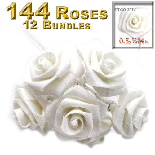 Artificial Flowers, Ribbon Roses, 0.50-inch, White and green