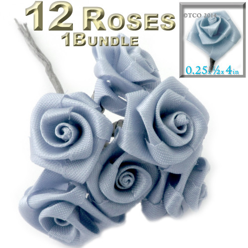 Artificial Flowers, Ribbon Roses, 0.25-inch, Dusty Light Blue