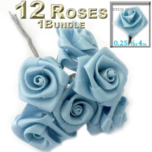 Artificial Flowers, Ribbon Roses, 0.25-inch, Light Blue