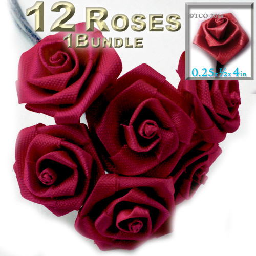 Artificial Flowers, Ribbon Roses, 0.25-inch, Red