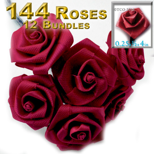 Artificial Flowers, Ribbon Roses, 0.25-inch, 12 Bundles, Red