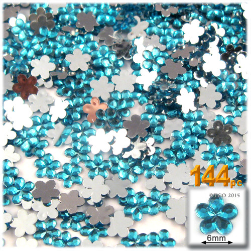 Rhinestones, Flatback, Flower, 6mm, 144-pc, Aqua Blue