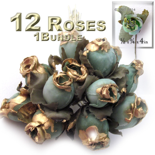 Artificial flowers, Gold Dipped Tips, Tulips, 0.5-inch, 12-pc Rustic Light Green with gold tips